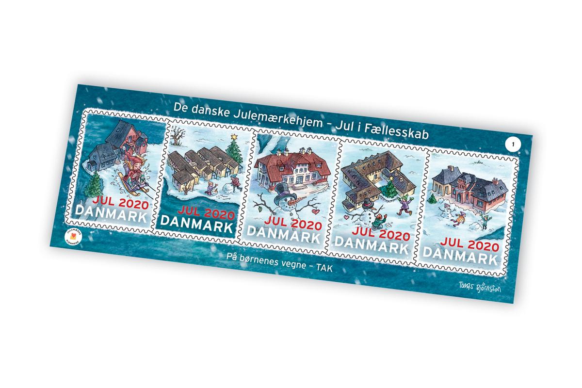 Megamærker med motiver af Julemærkehjemmene fra Julemærket 2020